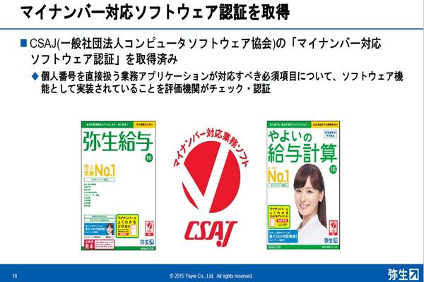 マイナンバー対応の目印、赤い「マイナンバー対応業務ソフト」認証マーク